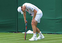 Tennis - 2017 Wimbledon Championships -<br /> Training sessions<br /> <br /> Andy Murray [GBR] struggles at training on court 7<br /> <br /> <br /> COLORSPORT/ANDREW COWIE