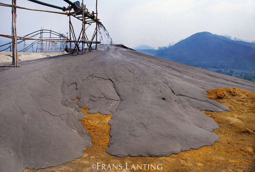 Tailings from copper mine near Mt Kinabalu National Park, Sabah, Borneo