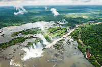 The view of the Iguazu Falls and the jungle beyond taken from a helicopter.
