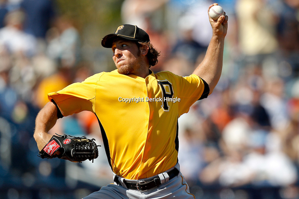 February 26, 2011; Port Charlotte, FL, USA; Pittsburgh Pirates relief pitcher Daniel Moskos (57) during a spring training exhibition game against the Tampa Bay Rays at Charlotte Sports Park.  Mandatory Credit: Derick E. Hingle