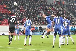 23.11.2011, BayArena, Leverkusen, Germany, UEFA CL, Gruppe E, Bayer 04 Leverkusen (GER) vs Chelsea FC (ENG), im Bild Kopfball zum 2:1 von Manuel Friedrich (Leverkusen #5) (R) // during the football match of UEFA Champions league, group E, between Bayer Leverkusen (GER) and FC Chelsea (ENG) at BayArena, Leverkusen, Germany on 2011/11/23.EXPA Pictures © 2011, PhotoCredit: EXPA/ nph/ Mueller..***** ATTENTION - OUT OF GER, CRO *****
