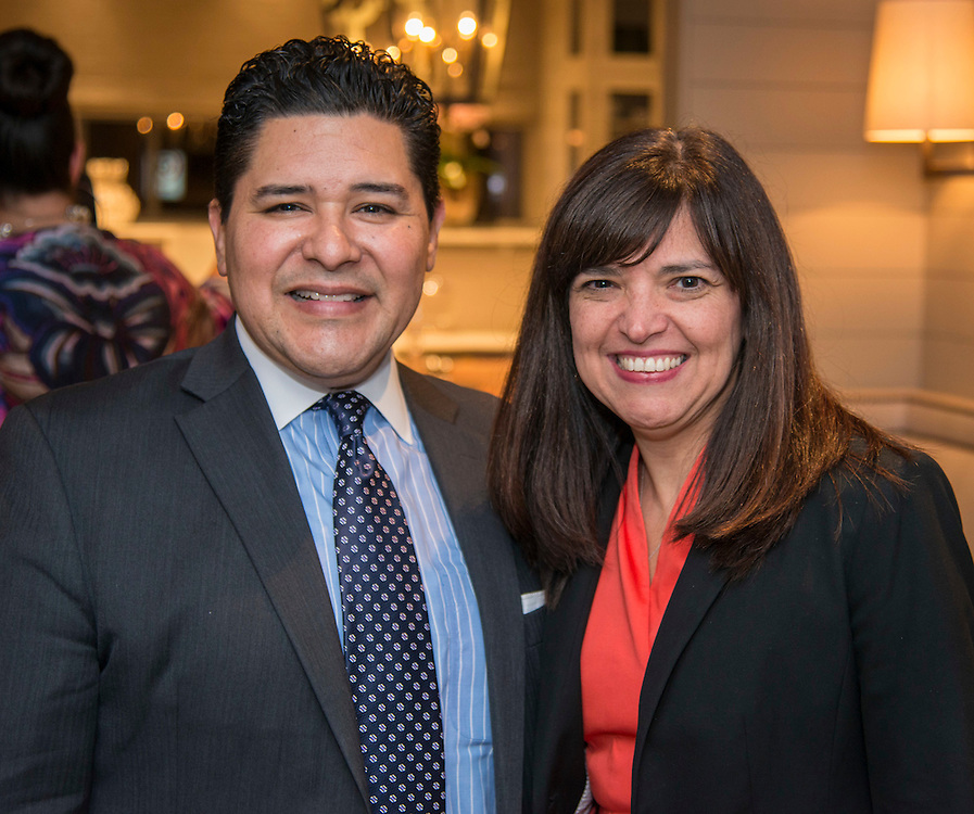 Houston ISD Superintendent Richard Carranza and Aleida Rios pose for a photograph during a State of the Schools VIP reception at the home of Douglas and Sarah Foshee, January 17, 2017.