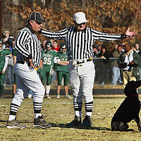 """PigSkin meet DogSkin"" An unwanted visitor did his own thing during first half action of this Thanksgiving game. fragm"