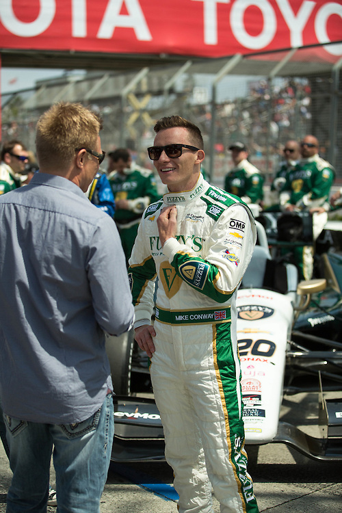 Mike Conway in the pit before winning the Long Beach grand Prix 2014