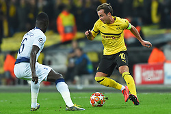 February 13, 2019 - London, England, United Kingdom - Tottenham defender Davinson Sanchez puts pressure on Borussia Dortmund midfielder Mario Gotze during the UEFA Champions League match between Tottenham Hotspur and Ballspielverein Borussia 09 e.V. Dortmund at Wembley Stadium, London on Wednesday 13th February 2019. (Credit: Jon Bromley | MI News & Sport Ltd) (Credit Image: © Mi News/NurPhoto via ZUMA Press)