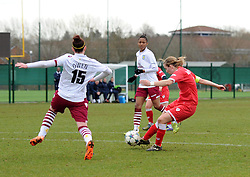 Bristol Academy captain Grace McCatty shoots to score against Aston Villa Ladies - Photo mandatory by-line: Paul Knight/JMP - Mobile: 07966 386802 - 01/03/2015 - SPORT - Football - Bristol - Stoke Gifford Stadium - Bristol Academy Women v Aston Villa Ladies - Pre-season friendly