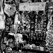 Venice - Black and White<br /> One of the Magic places in Venice. Ca' del Sol A fantastic Artisan Mask maker<br /> <br /> HOW TO LICENCE THIS PICTURE: please contact us via e-mail at sales@xianpix.com or call our office in London +44 (0)207 1939846 for prices and terms of copyright. First Use Only ,Editorial Use Only, All repros payable, No Archiving.© MARCO SECCHI