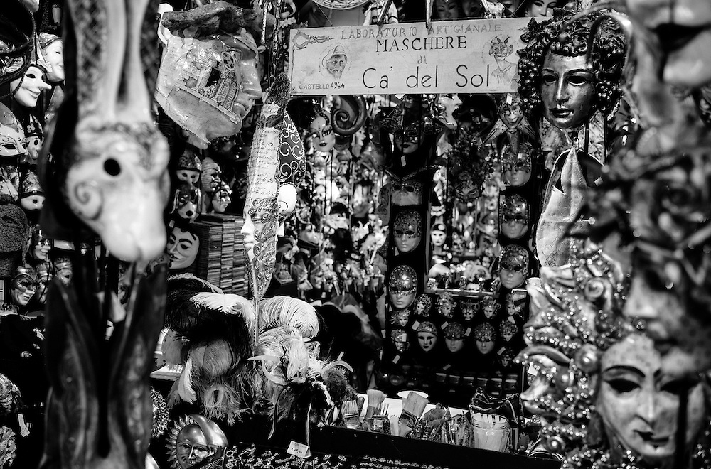 Venice - Black and White<br /> One of the Magic places in Venice. Ca' del Sol A fantastic Artisan Mask maker<br /> <br /> HOW TO LICENCE THIS PICTURE: please contact us via e-mail at sales@xianpix.com or call our office in London +44 (0)207 1939846 for prices and terms of copyright. First Use Only ,Editorial Use Only, All repros payable, No Archiving.&copy; MARCO SECCHI