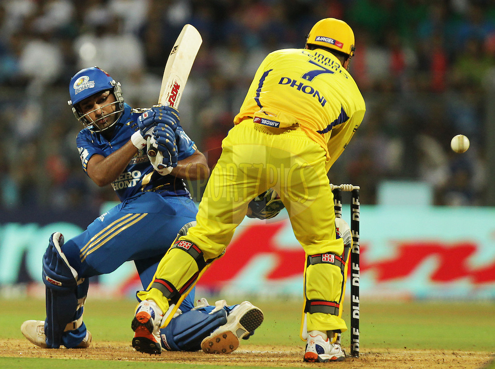 Mumbai Indian player Rohit Sharma bats during match 25 of the the Indian Premier League ( IPL ) Season 4 between the Mumbai Indians and the Chennai Super Kings held at the Wankhede Stadium, Mumbai, India on the 22nd April 2011..Photo by BCCI/SPORTZPICS.