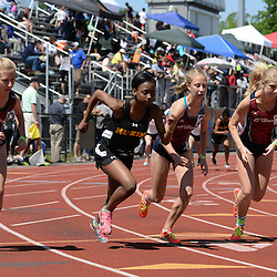 Staff photos by Tom Kelly IV<br /> Cardinal O'Hara had three runners who happen to be sisters in the top four seeds of the girls AAA 1600m run during the District 12 track and field championships in Philadelphia, Thursday afternoon.  (left to right) O'Hara's Elizabeth Mancini, Archbishop Wood's Jessica Nangle, O'Hara's Eleanor Mancini and O'Hara's Grace Mancini.  Grace placed first, Elizabeth placed second, and Eleanor finished third in the final.