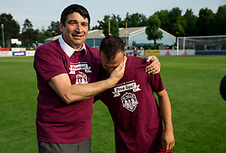 Matej Poplatnik of Triglav celebrates after winning during 2nd Leg football match between NK Triglav Kranj and NS Drava Ptuj in Qualifications of Prva Liga Telekom Slovenije 2018/19, on June 6, 2018 in Kranj, Slovenia. Photo by Vid Ponikvar / Sportida