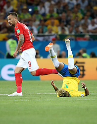 ROSTOV-ON-DON, June 17, 2018  Neymar (R) of Brazil falls down during a group E match between Brazil and Switzerland at the 2018 FIFA World Cup in Rostov-on-Don, Russia, June 17, 2018. (Credit Image: © Li Ga/Xinhua via ZUMA Wire)