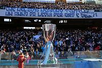 Lo striscione dei tifosi del Napoli che inneggia a Genny e Ciro <br /> Napoli 02-01-2015 Stadio San Paolo <br /> Football Calcio Serie A Napoli - Supercoppa TIM 2014-2015<br /> Foto Cesare Purini / Insidefoto