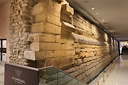 Charles V ditch fortifications, part of the 14th century city walls of Paris, excavated and preserved in the Hall Charles V, in the Carrousel du Louvre, a shopping mall underneath the Musee du Louvre, opened 1993, in the 1st arrondissement of Paris, France. Picture by Manuel Cohen
