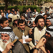 13 April 2004.Baghdad, Iraq..Hazem al Aaraji a senior aide to Moqtada al Sadr was detained in the Palastine/Sheraton hotel complex after giving an interview to an Italian news organisation..After speaking briefly to other journalists he moved along with a group of shieks to the confernce center inside the Sheraton hotel..As the international press looked on Hazem was huslted away by US forces. It is reported that he was later secretly taken out of the complex.