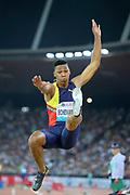 Juan Miguel Echevarria (CUB) wins the long jump at 28-4 1/2 (8.65m) the IAAF Diamond League final during the Weltkasse Zurich at Letzigrund Stadium, Thursday, Aug. 29, 2019, in Zurich, Switzerland. (Jiro Mochizuki/Image of Sport)