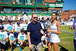 LIVERPOOL, ENGLAND - Sunday, June 24, 2018: Miguel Queipo, Amalia restaurant, presents the Ladies singles trophy to Corinna Dentoni (ITA) during day four of the Williams BMW Liverpool International Tennis Tournament 2018 at Aigburth Cricket Club. (Pic by Paul Greenwood/Propaganda)