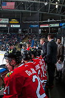 KELOWNA, CANADA - APRIL 8: Portland Winterhawks' head coach Mike Johnston speaks to ice officials from the bench against the Kelowna Rockets on April 8, 2017 at Prospera Place in Kelowna, British Columbia, Canada.  (Photo by Marissa Baecker/Shoot the Breeze)  *** Local Caption ***