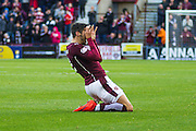 Hearts FC Defender Callum Paterson celebrates his goal during the Ladbrokes Scottish Premiership match between Heart of Midlothian and Ross County at Tynecastle Stadium, Gorgie, Scotland on 24 October 2015. Photo by Craig McAllister.