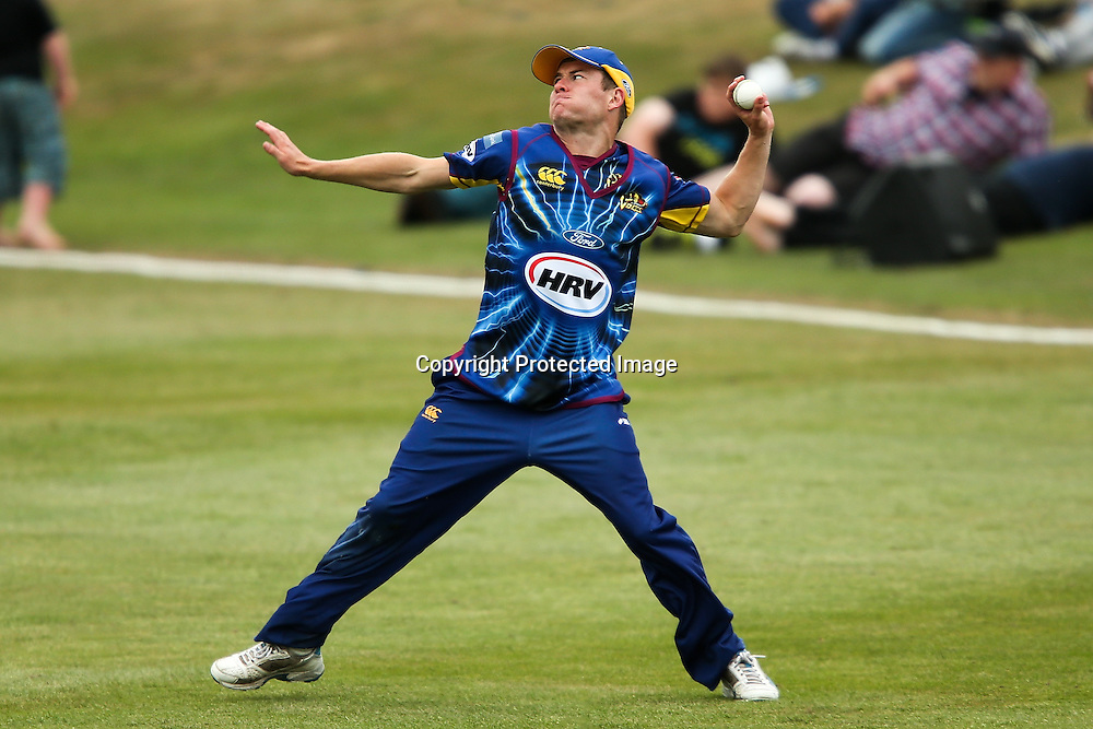 Otago's Neil Broom fields during the HRV Cup Twenty20 Cricket match between Canterbury Wizards and Otago Volts at Aorangi Oval, Timaru on Thursday 27 December 2012. Photo: Martin Hunter/Photosport.co.nz