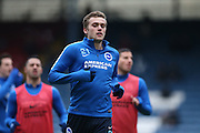 Brighton striker (on loan from Manchester United), James Wilson (21) warming up before the Sky Bet Championship match between Blackburn Rovers and Brighton and Hove Albion at Ewood Park, Blackburn, England on 16 January 2016.