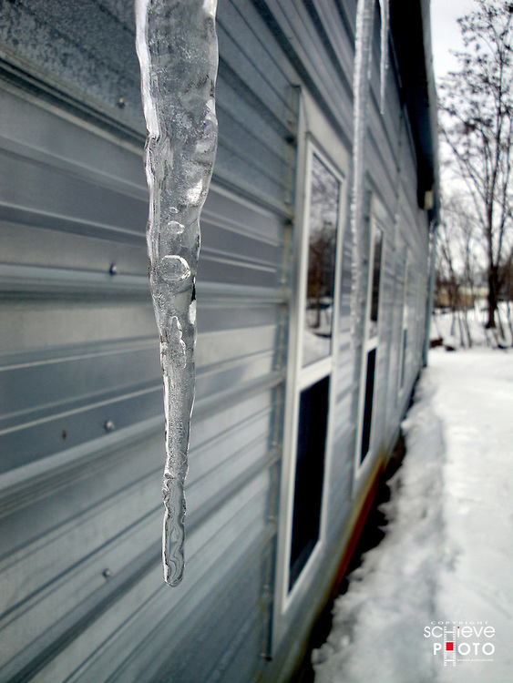 Icicles on steel building.