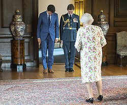 Canada's Prime Minister Justin Trudeau meets Queen Elizabeth at Holyrood Palace, her official residence, in Edinburgh, UK, on Wednesday, July 5, 2017. Photo by Ryan Remiorz/CP/ABACAPRESS.COM