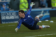 Sheffield Wednesday goalkeeper Keiren Westwood  during the Sky Bet Championship match between Sheffield Wednesday and Wolverhampton Wanderers at Hillsborough, Sheffield, England on 20 December 2015. Photo by Simon Davies.