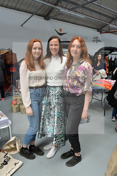 Centre, BRITA FERNANDEZ-SCHMIDT and her daughters EMMA (l) and SARA (r) at #SheInspiresMe Car Boot Sale in Aid of Women for Women International held at the Brewer Street Carpark, Soho, London on 23rd April 2016.