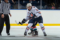 KELOWNA, CANADA - SEPTEMBER 5: Scott Mahovlich #12 of the Kamloops Blazers skates against the Kelowna Rockets on September 5, 2017 at Prospera Place in Kelowna, British Columbia, Canada.  (Photo by Marissa Baecker/Shoot the Breeze)  *** Local Caption ***