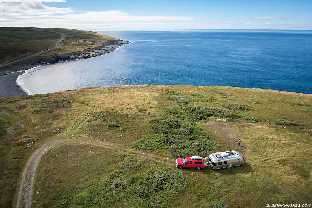 Remote RV camping near Mistaken Point, Newfoundland, Canada.