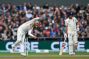Nathan Lyon of Australia bowling during the International Test Match 2019, fourth test, day three match between England and Australia at Old Trafford, Manchester, England on 6 September 2019.