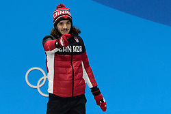 February 18, 2018 - Pyeongchang, South Korea - SAMUEL GIRARD of Canada celebrates getting the gold medal in the Men's 1000m short track speed skating event in the PyeongChang Olympic Games. (Credit Image: © Christopher Levy via ZUMA Wire)
