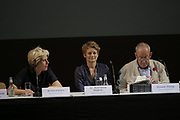 Münster, Germany. Opening days of Skulptur Projekte 2017.<br /> Opening Press Conference at Theater Münster.<br /> Kasper König with his curators Britta Peters and Dr. Marianne Wagner.