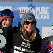 Jamie Anderson, USA, (centre) winner of the Snowboard Slopestyle Ladies competition with Charlotte van Gils, The Netherlands, (right), second place and Rebecca Torr, New Zealand, (left) third place at Snow Park, New Zealand during the Winter Games. Wanaka, New Zealand, 21st August 2011. Photo Tim Clayton