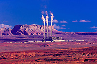 Three 236 meter high chimneys with steam plumes rising out, Navajo Generating Station, Navajo Indian Reservation, near Page, Arizona USA