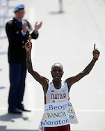 ATLETIKA, Beograd, 18. Apr. 2009. -  Atleticar iz Katara Moustafa Ahmed pobednik je 42. Svetskog vojnog maratona. FOTO NENAD NEGOVANOVIC