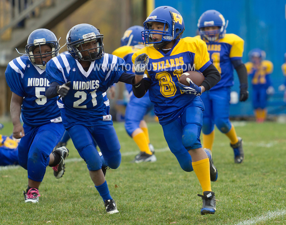 Salisbury Mills, New York  - Washingtonville Gold plays Middletown in an Orange County Youth Football League Division I playoff game at Lasser Field on Sunday, Nov. 3, 2013.