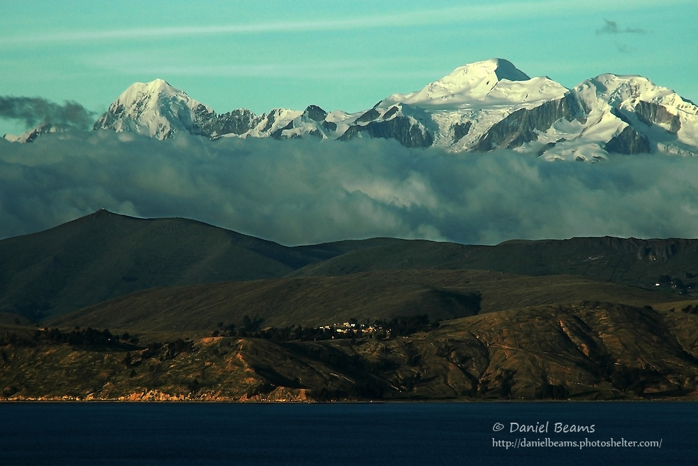 Mountains and lake, Lago Titicaca, La Paz, Bolivia
