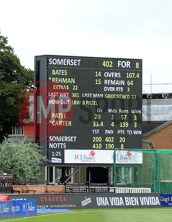 The Final scoreboard as Somerset chase down 402 to win by 2 wickets. - Photo mandatory by-line: Harry Trump/JMP - Mobile: 07966 386802 - 17/06/15 - SPORT - CRICKET - LVCC County Championship - Division One - Day Four - Somerset v Nottinghamshire - The County Ground, Taunton, England.