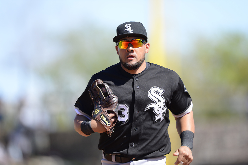 GLENDALE, AZ - MARCH 04:  Melky Cabrera #53 of the Chicago White Sox looks on during a spring training game between the Los Angeles Dodgers and Chicago White Sox on March 4, 2015 at The Ballpark at Camelback Ranch in Glendale, Arizona. (Photo by Ron Vesely)   Subject:  Melky Cabrera