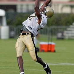04 August 2009: New Orleans Saints wide receiver Adrian Arrington (87) leaps in an attempt to make a catch during New Orleans Saints training camp at the team's practice facility in Metairie, Louisiana.