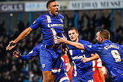 Leon Legge celebrates his equalising goal during the Sky Bet League 1 match between Gillingham and Leyton Orient at the MEMS Priestfield Stadium, Gillingham, England on 15 November 2014.