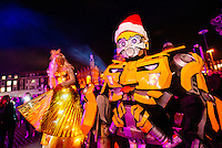 Hull City Centre, Kingston Upon Hull, East Yorkshire, United Kingdom, 27 November, 2014. Christmas Lights Turn On Pictured: Transformer Character