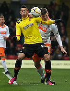 Picture by David Horn/Focus Images Ltd +44 7545 970036.09/03/2013.Matthew Briggs of Watford and Gary MacKenzie of Blackpool during the npower Championship match at Vicarage Road, Watford.