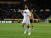 CAPTION CORRECTION Goal celebration by Leeds United forward Tyler Roberts (11)  during the EFL Sky Bet Championship match between Hull City and Leeds United at the KCOM Stadium, Kingston upon Hull, England on 2 October 2018.