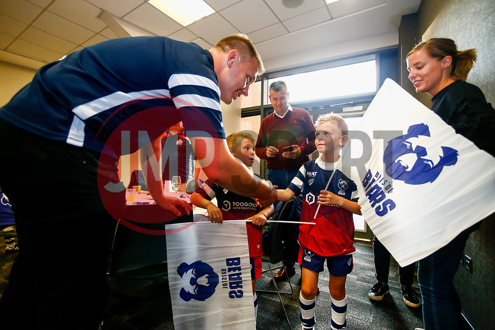 Mascots meet players Joe Batley and Tom Lindsay in the Dolman Suite 1 prior to kick off - Mandatory by-line: Ryan Hiscott/JMP - 31/08/2018 - RUGBY - Ashton Gate Stadium - Bristol, England - Bristol Bears v Bath Rugby - Gallagher Premiership Rugby