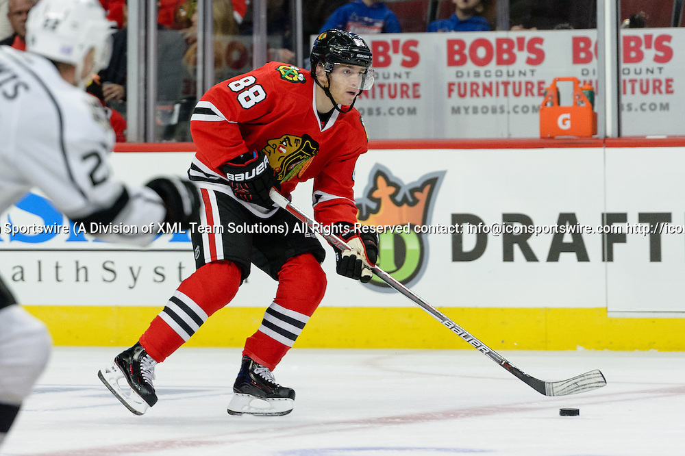 CHICAGO, IL - OCTOBER 30: Chicago Blackhawks Right Wing Patrick Kane (88) skates with the puck in the 1st period during an NHL hockey game between the Los Angeles Kings and the Chicago Blackhawks on October 30, 2016, at the United Center in Chicago, IL. (Photo By Daniel Bartel/Icon Sportswire)