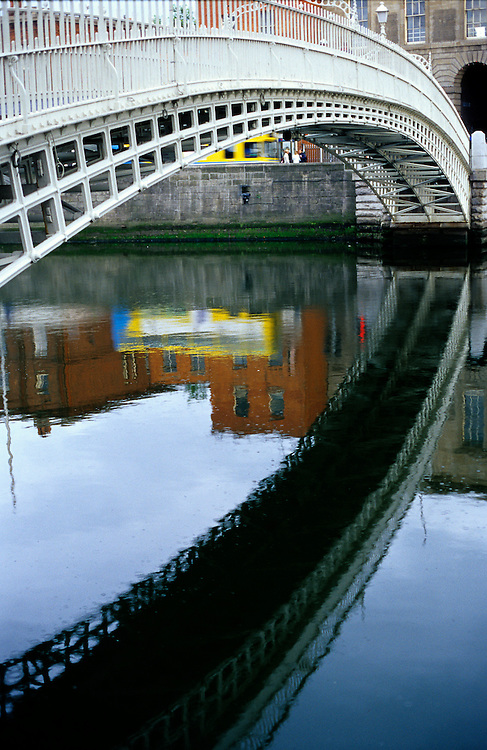 Ha' Penny Bridge is one of the most famous bridges over the river Liffey, in Ireland's capital, Dublin