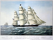 Clipper Ship 'Flying Cloud''. Lithograph by Currier and Ives, New York, 1852.